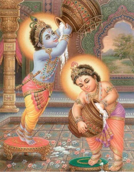Lord-Krishna and Balram stealing Makhan