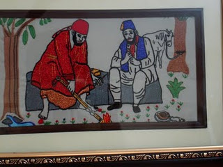 Sai baba with chand patil embroidery